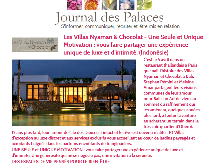 Nyaman Group Indonesia - Press - Journal des Palaces