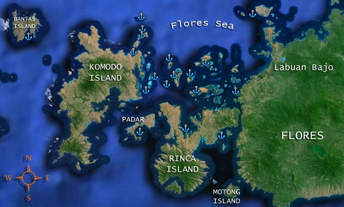 Nyaman Group - dive cruise in Komodo National Park - destinations map