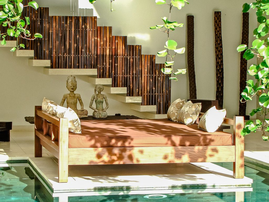 Nyaman-villas-seminyak-sunbed-by-the-pool-at-four-bedroom-villa