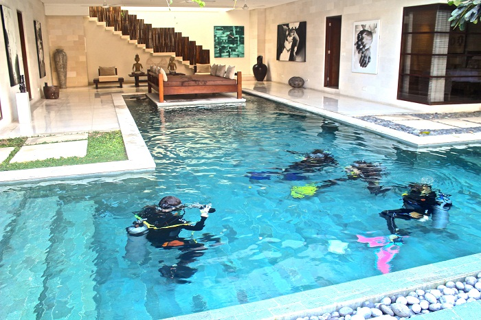Nyaman Group Indonesia-Exclusive member privilege-complimentary Dive Training Pool experience in your own villa